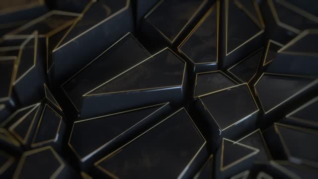 vídeos y material grabado en eventos de stock de animación negra de metal de fondo poligonal abstracto - geometría