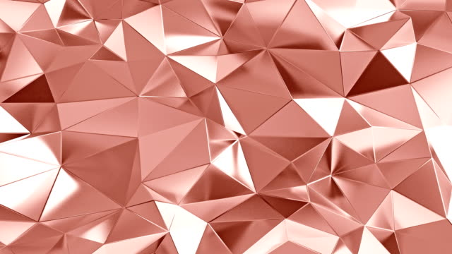 vídeos de stock e filmes b-roll de abstract polygonal background rose gold color animation - dourado cores