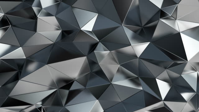 vídeos de stock e filmes b-roll de abstract polygonal background silver animation 4k - modelação low poly