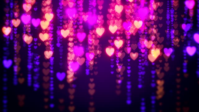 abstract rain of hearts loopable valentine background - heart stock videos & royalty-free footage