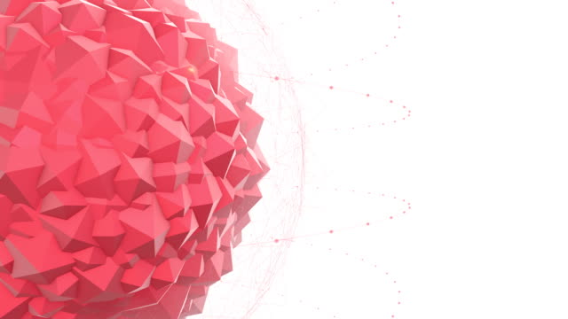 Abstract Red Geometric Polygon Shape With Particle Effects