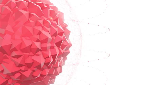 Abstrakt Rot geometrisch Polygon Form mit Partikel-Effekt