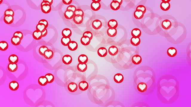 Abstract Red heart shape with roses and light Motion Background for Valentines Day