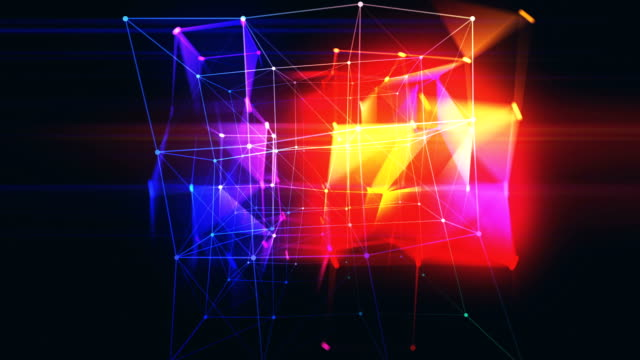abstract rotating triangles and squares grid in 3d space  loopable background - square stock videos & royalty-free footage