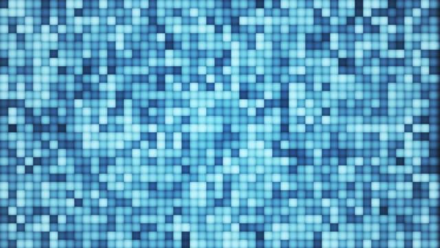 カラフルなピクセルの抽象的な行が点滅, 流れる異なる色の小さな正方形, ディスコモザイクループ - フラクタル点の映像素材/bロール