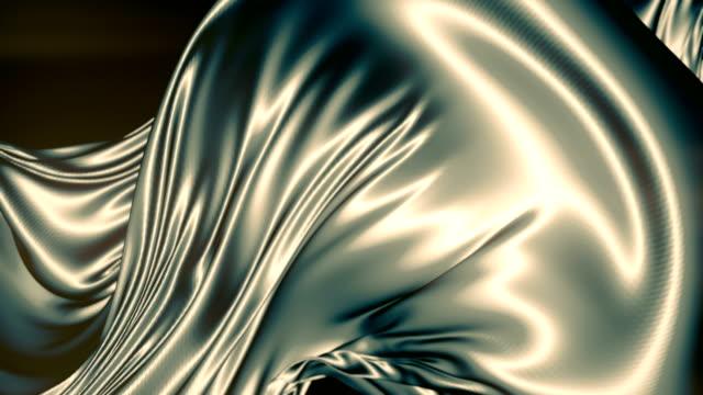 vidéos et rushes de tissu métallique brillant abstrait. fond d'animation au ralenti. rendu 3d. résolution 4k, ultra hd - curtain
