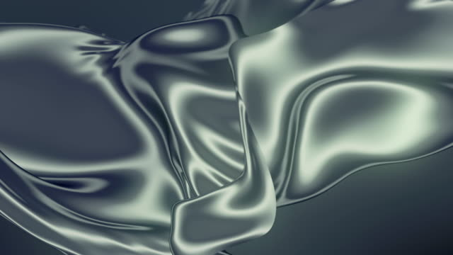 Abstract silver shiny metallic cloth. Slow motion animation background. 3d rendering. 4k UHD