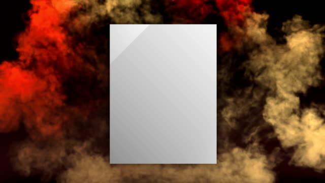 暗い背景に抽象的な煙の衝撃波爆発は、あなたのテキストやロゴを配置するためのアルファマットチャンネルと幾何学的な正方形のバッジを開きます。3d レンダリング。4k、ウルトラhd解像度 - 特殊効果点の映像素材/bロール