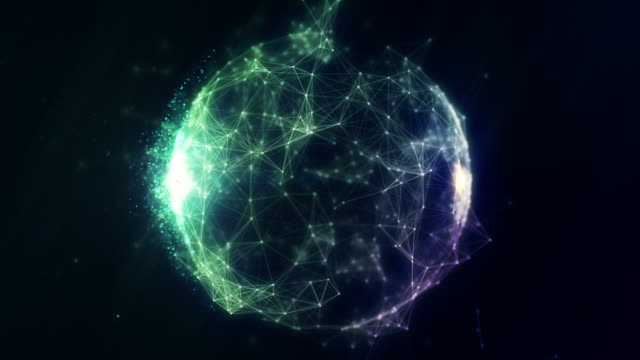 abstract spherical network background - particle stock videos and b-roll footage