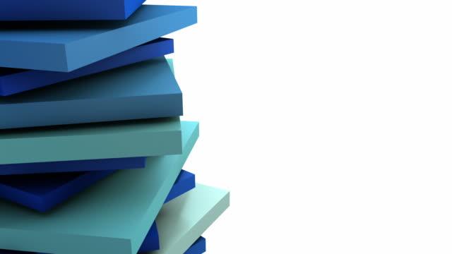 stockvideo's en b-roll-footage met abstract spinning stack loop - ocean blue (full hd) - monochroom