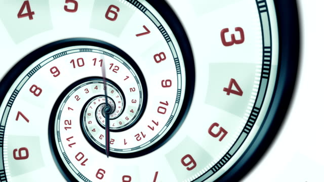 abstract spiral clock (golden ratio) - loopable - wasting time stock videos & royalty-free footage