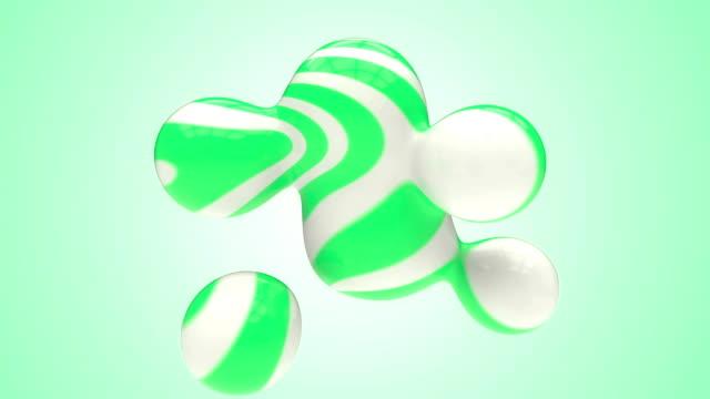 Esferas em movimento abstrato Listrado verde com alfa