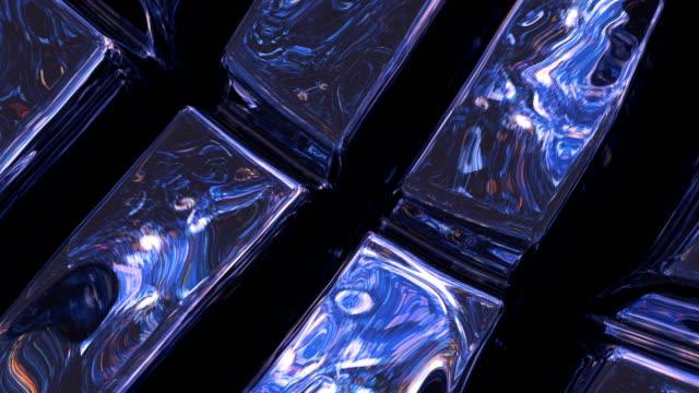 superficie astratta realizzata in pezzi metallici e lucenti - membrana video stock e b–roll