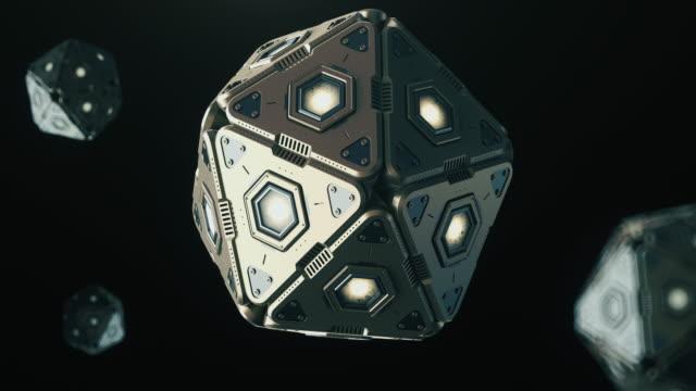 3次元ポリゴンの形で未来の抽象的な技術3dモデル。 - three objects点の映像素材/bロール