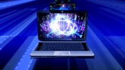 Abstract technological backgrounds on screens of laptops.
