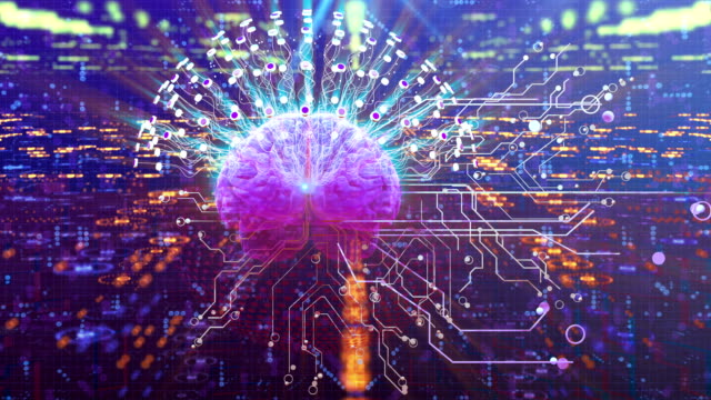 abstract technological brain. digital brain concept. - cyberspace stock videos & royalty-free footage