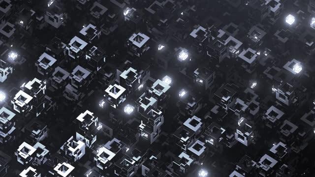 vidéos et rushes de contexte technologique abstrait - loopable - transfert de données, ligne de production, informatique quantique - noir - complexité