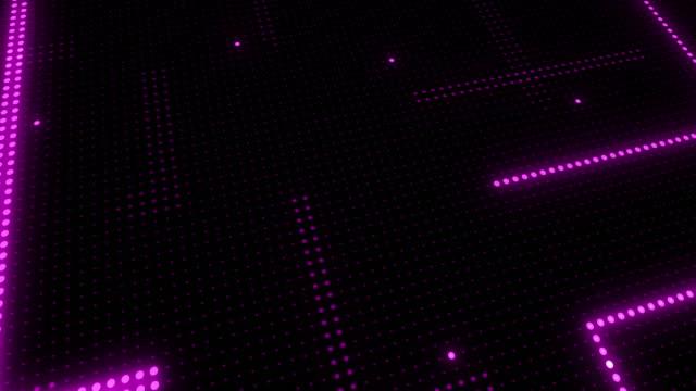 stockvideo's en b-roll-footage met abstracte technologie achtergrond van led-scherm deeltjes. circuit licht animatie. (loop bare) - magenta