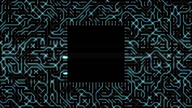 abstrakt teknik bakgrund med kretskort loop - tal text bildbanksvideor och videomaterial från bakom kulisserna