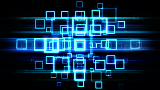 Abstract Technology blue  squares loopable background footage
