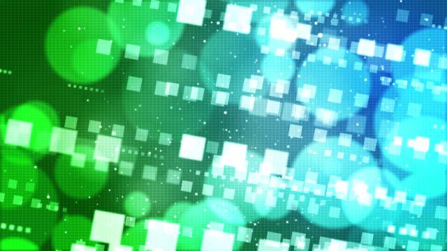 抽象的な技術ボケスクエアブルーグリーンの背景 - カラーグラデーション点の映像素材/bロール