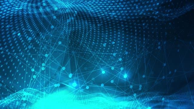 vídeos y material grabado en eventos de stock de resumen tecnología defocused partículas de fondo (azul oscuro) - azul oscuro