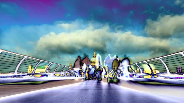 vidéos et rushes de abstract time-lapse sur millenium bridge, à st. pauls, à londres. haute définition - psychédélique