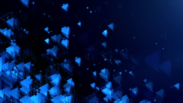 abstract triangles background (blue, dark) - loop - light blue stock videos & royalty-free footage
