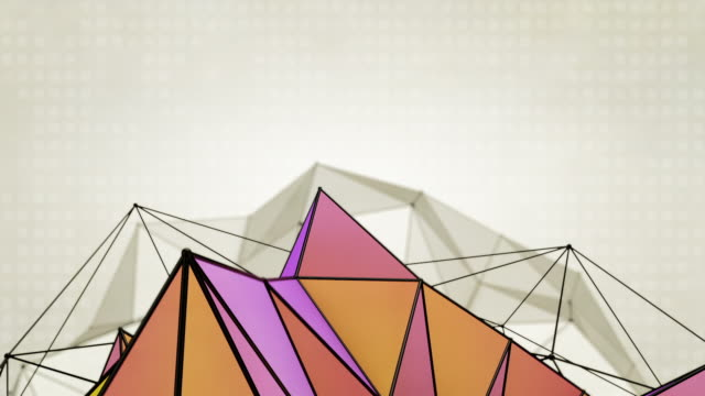abstract triangles background loops - 2 variations purple orange (hd) - medium shot stock videos & royalty-free footage