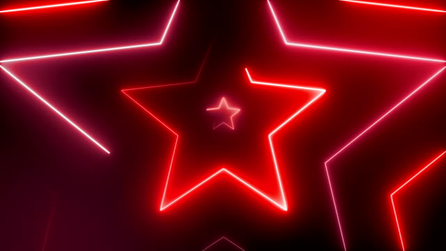 abstract tunnel fiber optic line glowing stars background with glowing lines, vj,dj lights. virtual reality star show, fashion glow sticks are spinning loopable - star shape stock videos & royalty-free footage