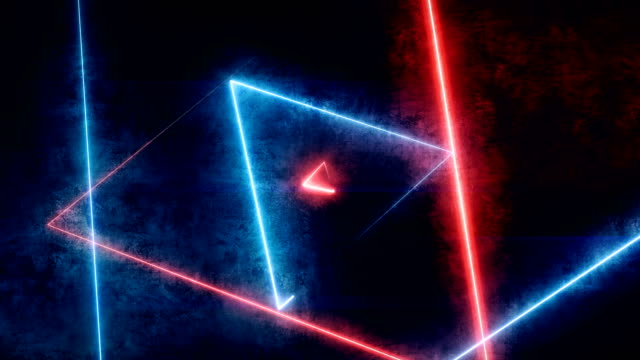 abstract tunnel fiber optic line glowing triangles background with glowing lines, vj,dj lights. virtual triangle reality show, fashion glow sticks are spinning loopable - neon colored stock videos & royalty-free footage