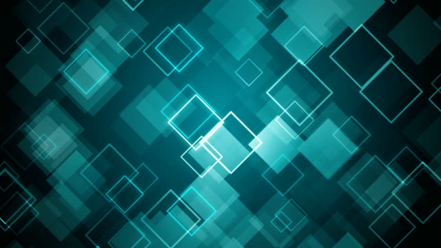 abstract turquoise squares background - (loopable) - turquoise background stock videos & royalty-free footage