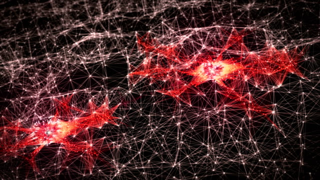 Abstract Two Glowing Neural Cells in Neuron Network, Biology and Futuristic Concept