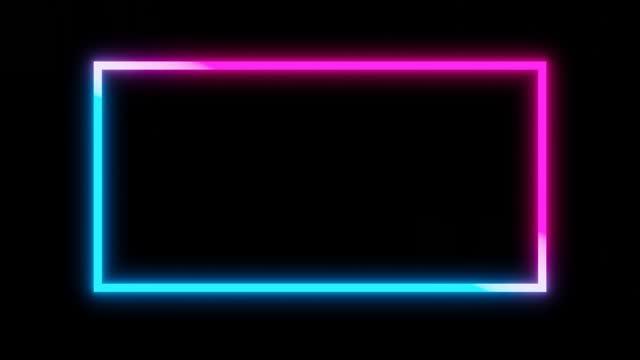 vídeos y material grabado en eventos de stock de abstract ultraviolet neon light square frame on dark night background. 3d render. looped animation. - cuadrado composición