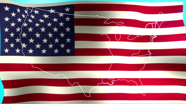Abstract US map and flag