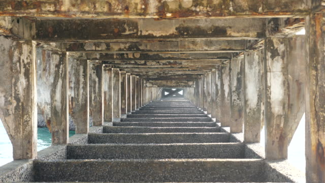 abstract view of structure under concrete jetty - shade stock videos & royalty-free footage