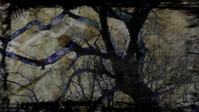 vídeos de stock, filmes e b-roll de abstract visualization of a silhouetted tree. - deteriorado