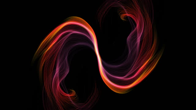 abstract wave lines isolated on black. smoke and fire - 4k computer generated - changing form stock videos & royalty-free footage