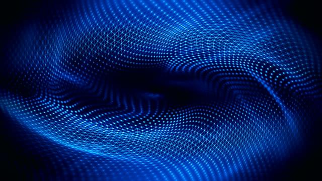 vídeos de stock e filmes b-roll de abstract waves background (blue) - loop - reflexo cabelo pintado