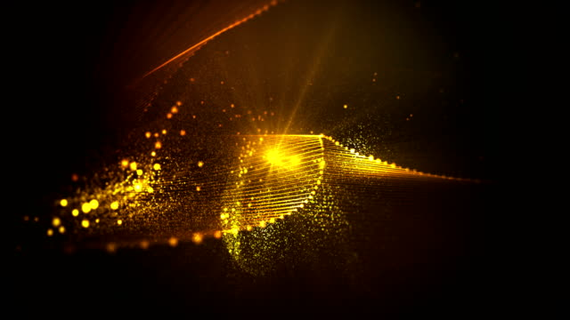 abstract waves of fairy dust loopable background - gold coloured stock videos & royalty-free footage