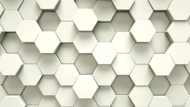 abstract white hexagon geometric surface | loopable - hexagon stock videos & royalty-free footage