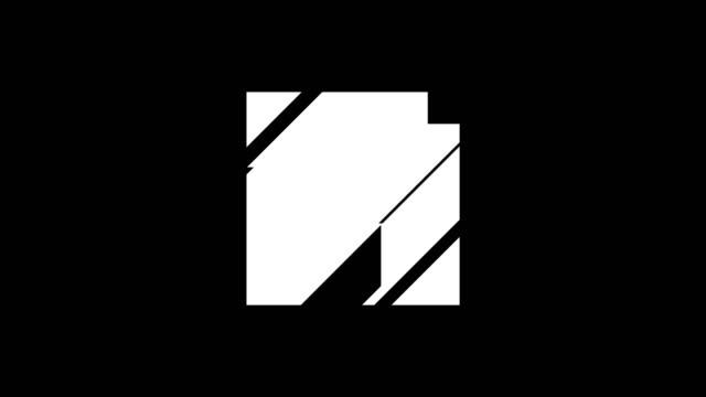 abstrakt gul och violett shockwave shockwave vätska rörelse explosion på en mörk bakgrund öppnar geometriska fyrkantiga badge med alfa matt kanal för att placera din text eller logotyp. 3d-rendering. 4k, uhd - tvådimensionell form bildbanksvideor och videomaterial från bakom kulisserna