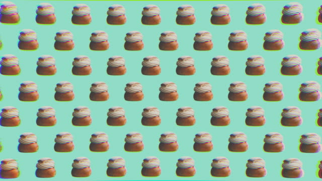 abstract zine style background graphics with swedish pastry - design video stock e b–roll