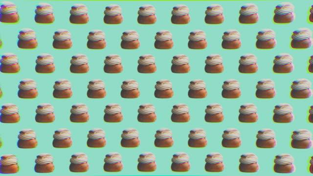 Graphiques d'arrière-plan de style Zine abstraites avec pâtisserie suédoise