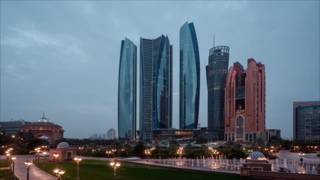 abu day to night dhabi skyline timelapse uae - egypt stock videos & royalty-free footage