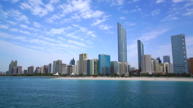abu dhabi skyline and corniche - panorama stock videos & royalty-free footage