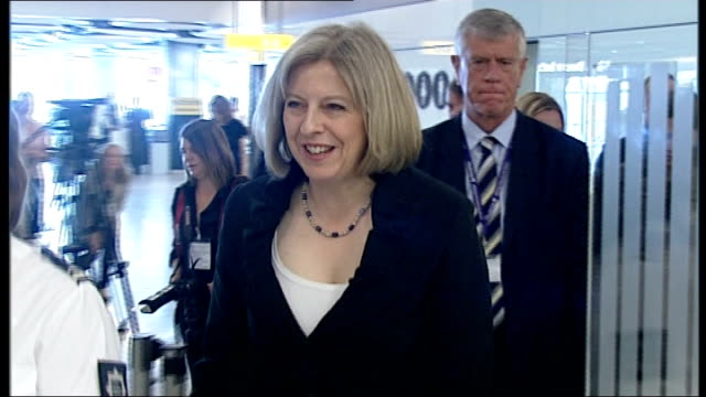 abu qatada loses his request to appeal against deportation 1462010 r14061001 home secretary theresa may along on visit to uk border control with... - deportation stock videos & royalty-free footage