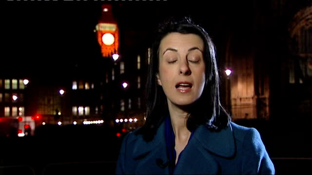 home secretary criticises european court of human rights westminster reporter to camera - アブ クアタダ点の映像素材/bロール