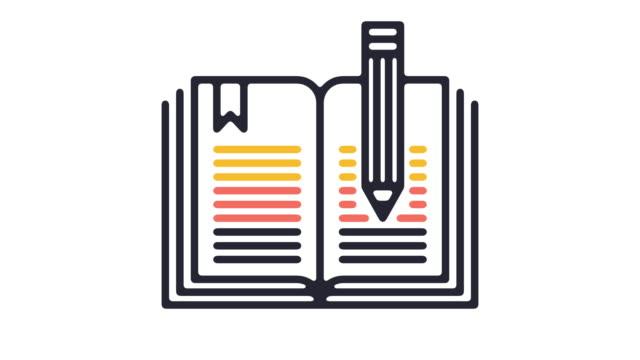 vidéos et rushes de animation en icône ligne écriture académique - carnet