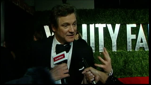 'the king's speech' wins four awards ext / night colin firth speaking to press as arriving at vanity fair aftershow event sot nice to be able to say... - オスカーパーティー点の映像素材/bロール